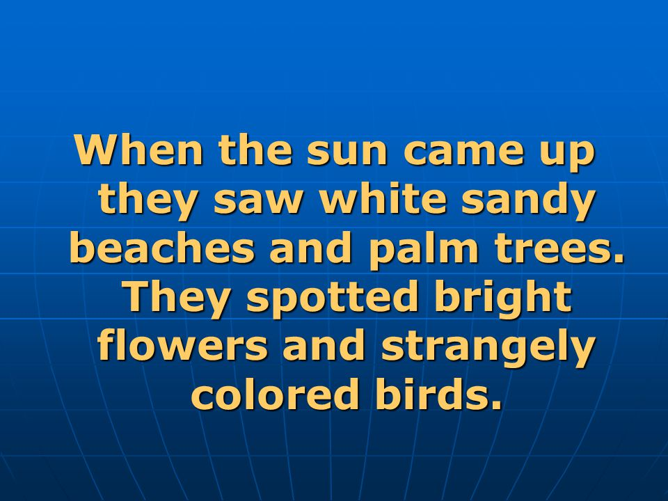 When the sun came up they saw white sandy beaches and palm trees