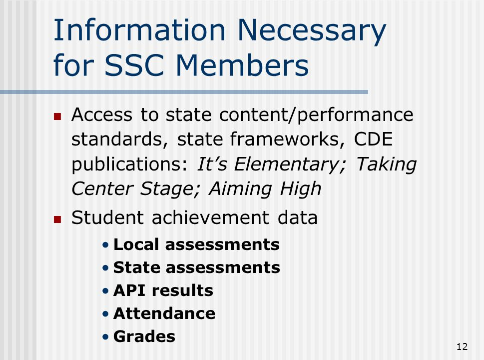 Information Necessary for SSC Members