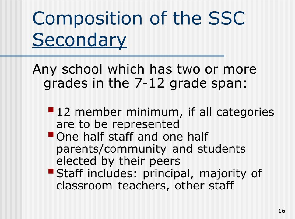 Composition of the SSC Secondary
