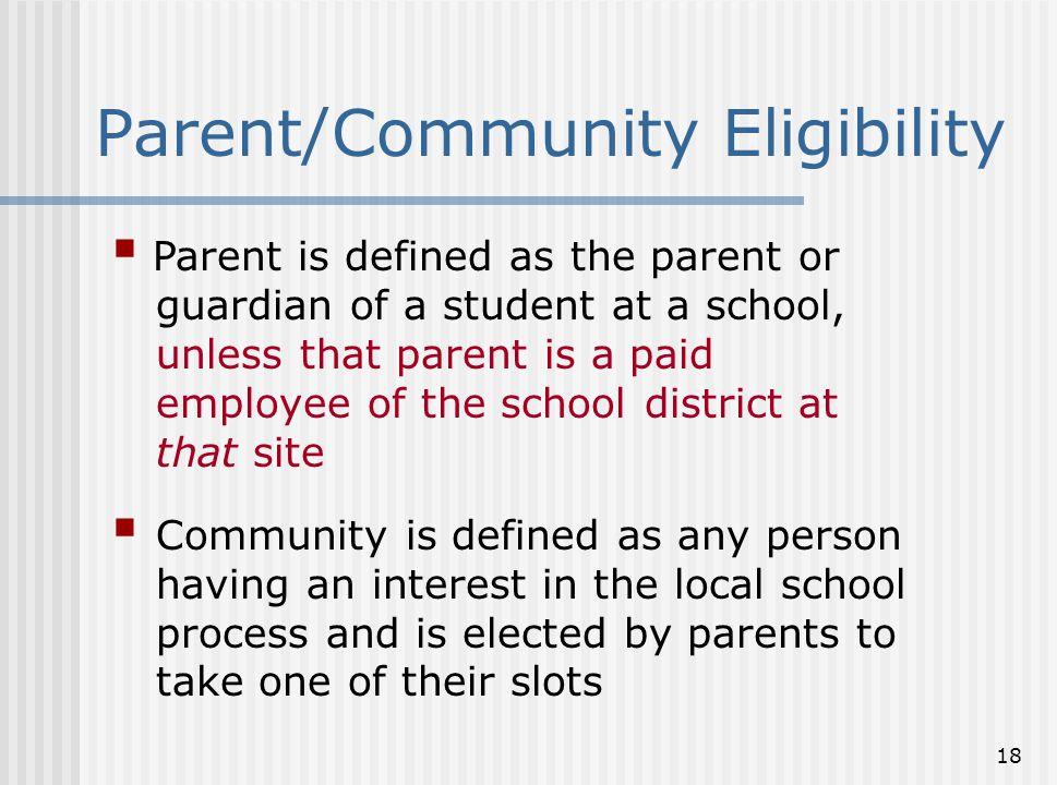 Parent/Community Eligibility