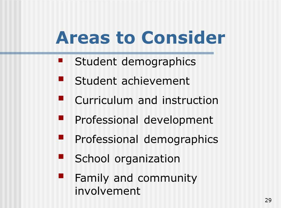 Areas to Consider Student achievement Curriculum and instruction