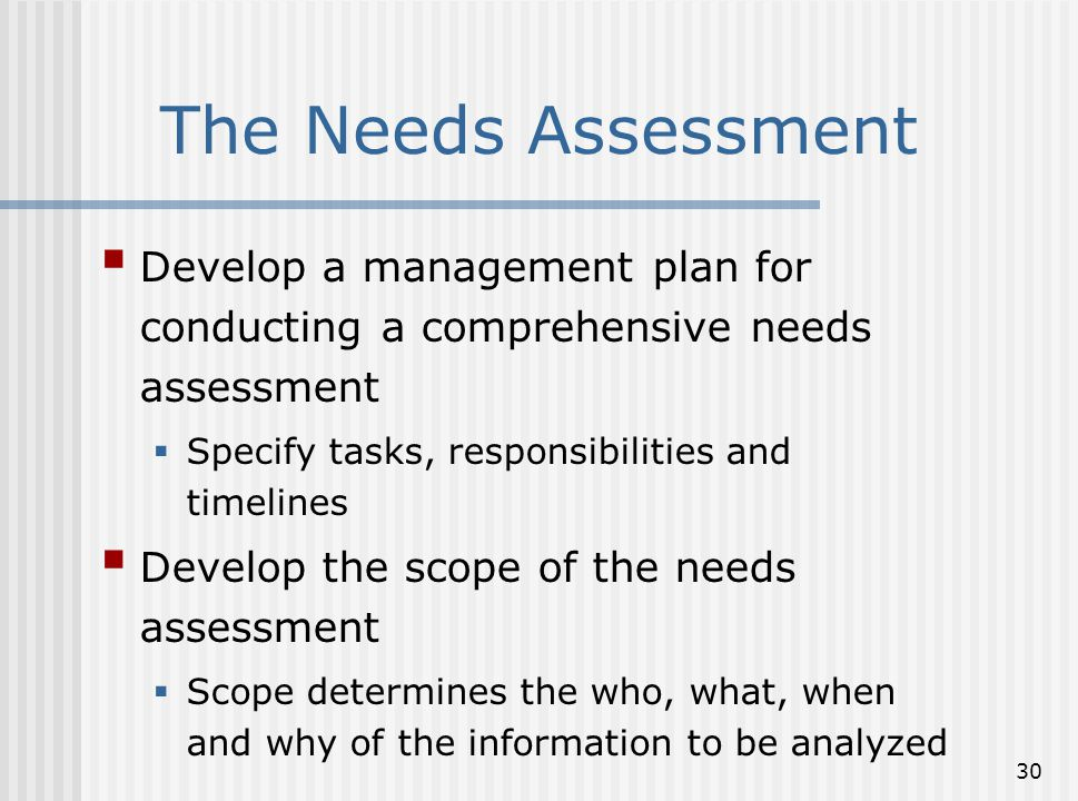 The Needs Assessment Develop a management plan for conducting a comprehensive needs assessment. Specify tasks, responsibilities and timelines.