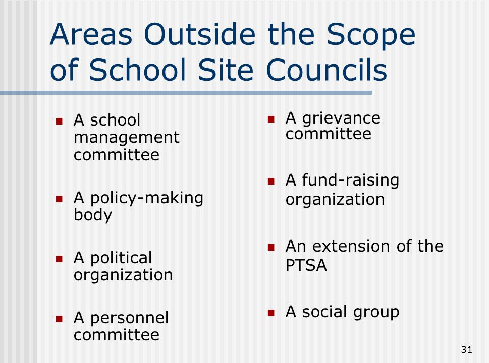 Areas Outside the Scope of School Site Councils