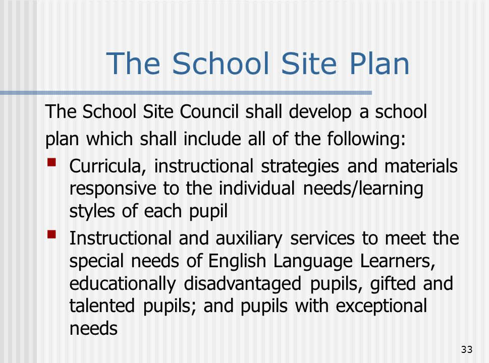 The School Site Plan The School Site Council shall develop a school