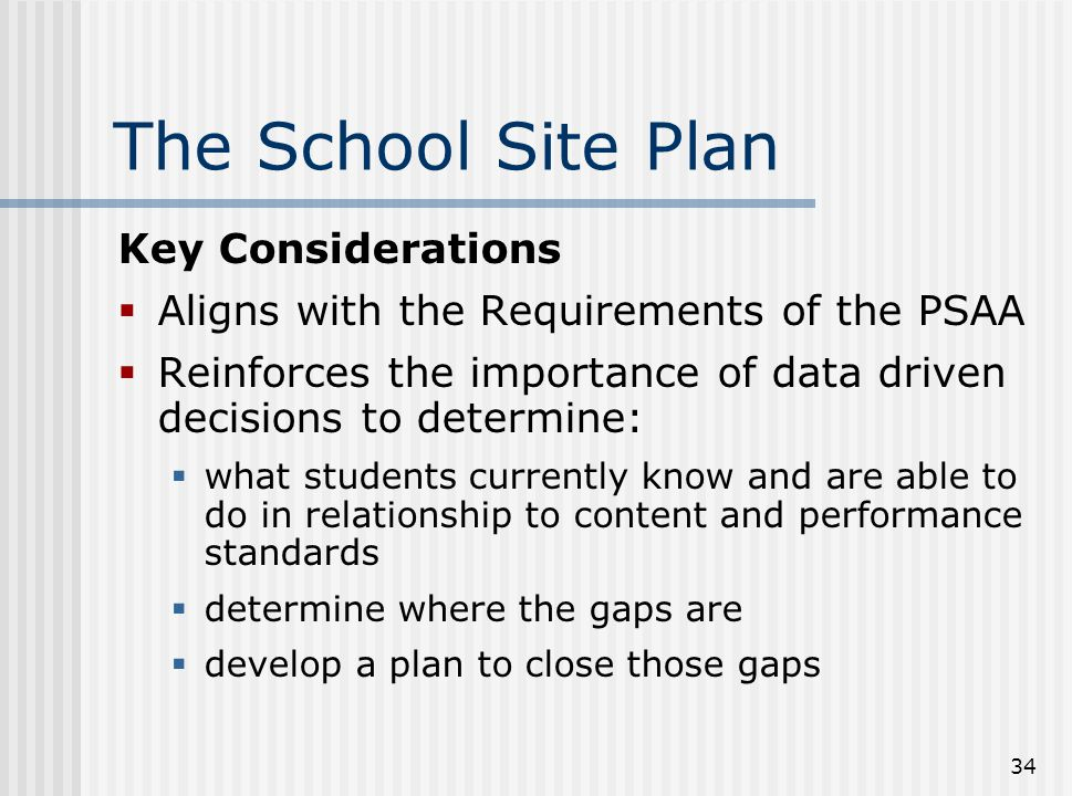 The School Site Plan Key Considerations