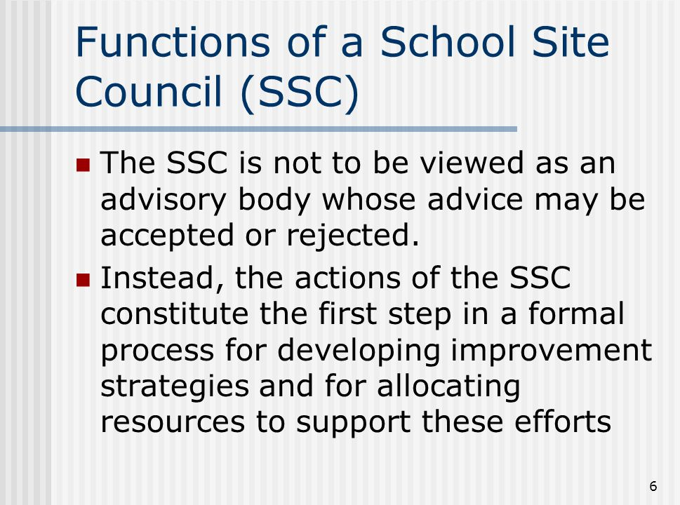 Functions of a School Site Council (SSC)
