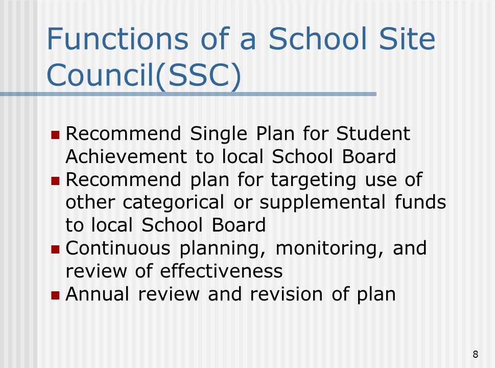 Functions of a School Site Council(SSC)