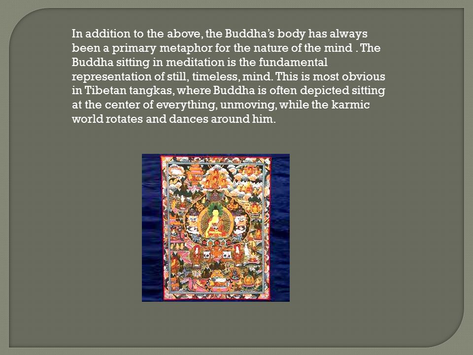 In addition to the above, the Buddha's body has always been a primary metaphor for the nature of the mind .