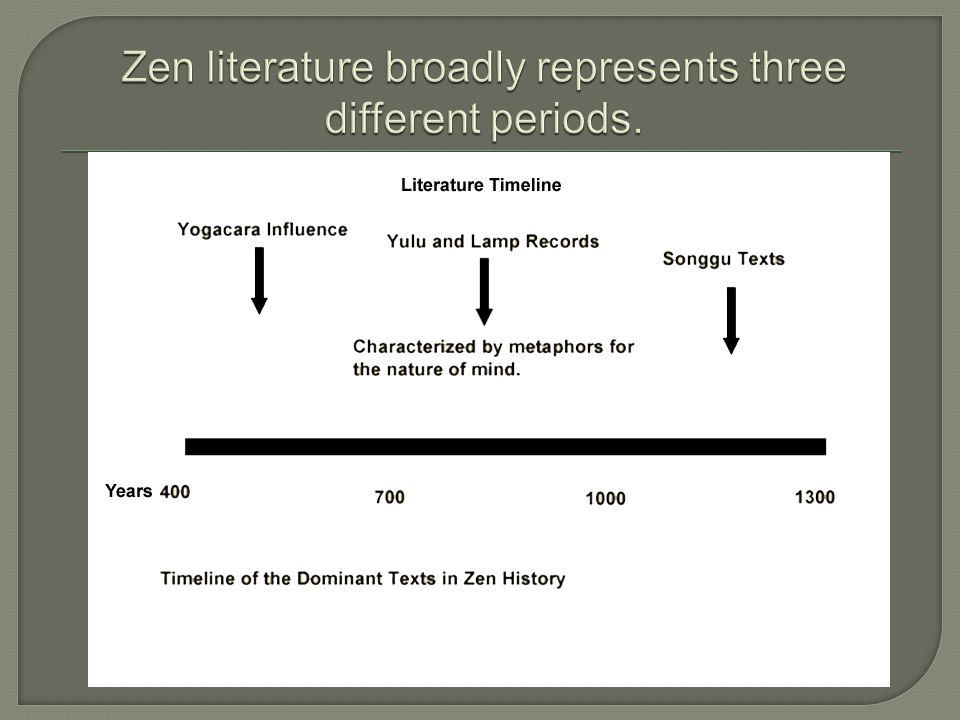 Zen literature broadly represents three different periods.