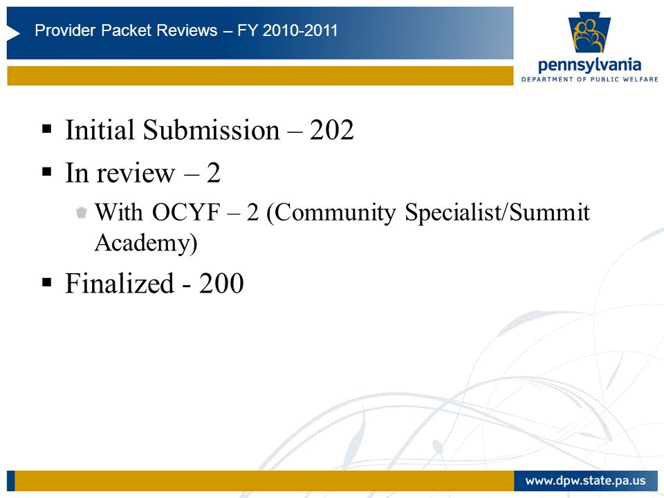 FY10/11 Initial Submission – 202 In review – 2 Finalized - 200