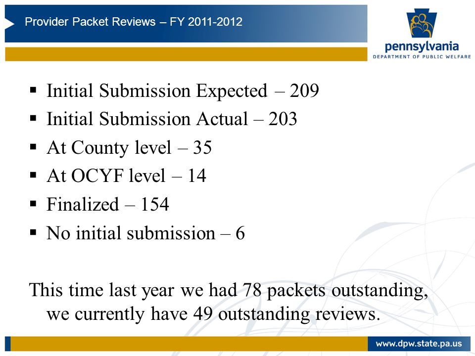 FY11/12 Initial Submission Expected – 209