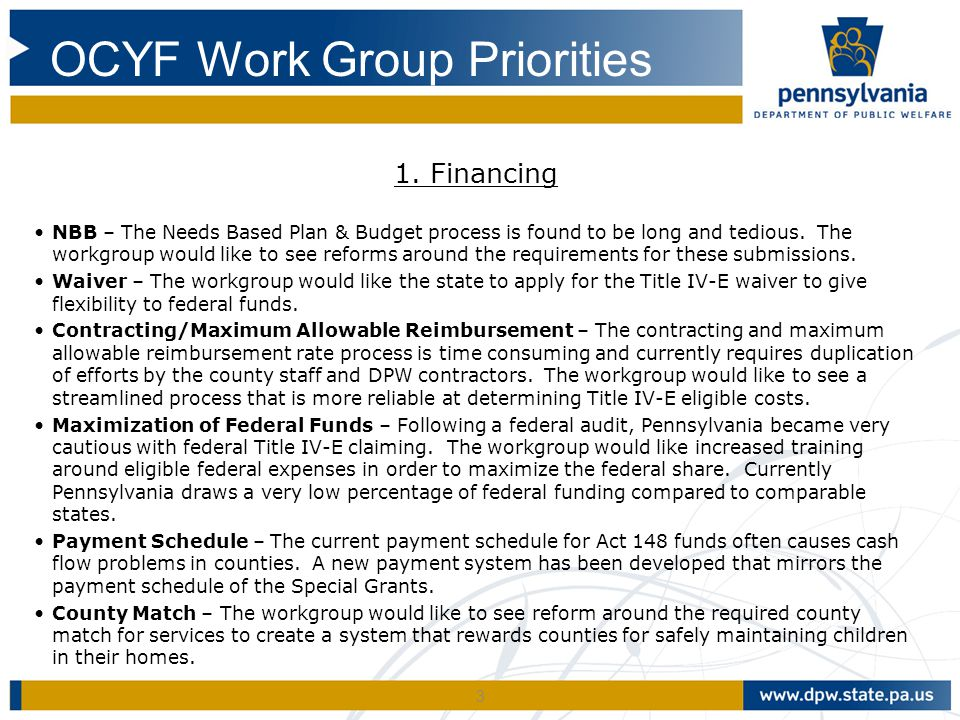 OCYF Work Group Priorities
