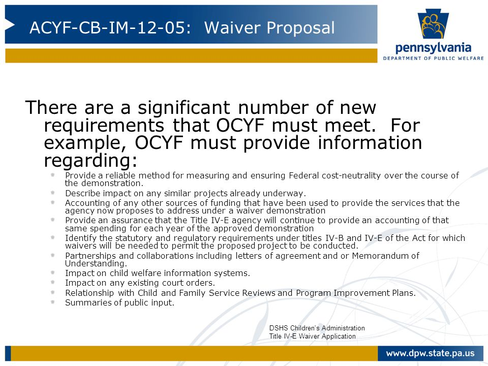ACYF-CB-IM-12-05: Waiver Proposal