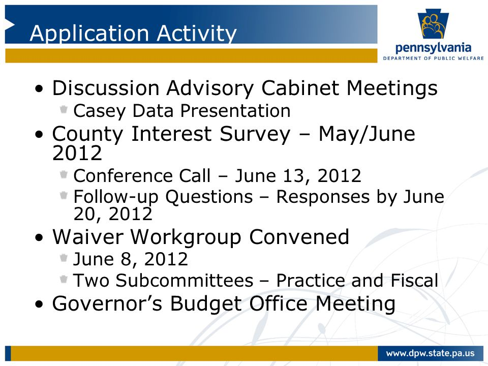 Application Activity Discussion Advisory Cabinet Meetings