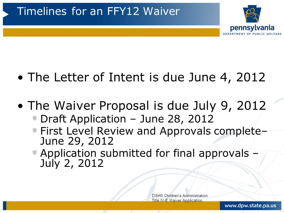 Timelines for an FFY12 Waiver