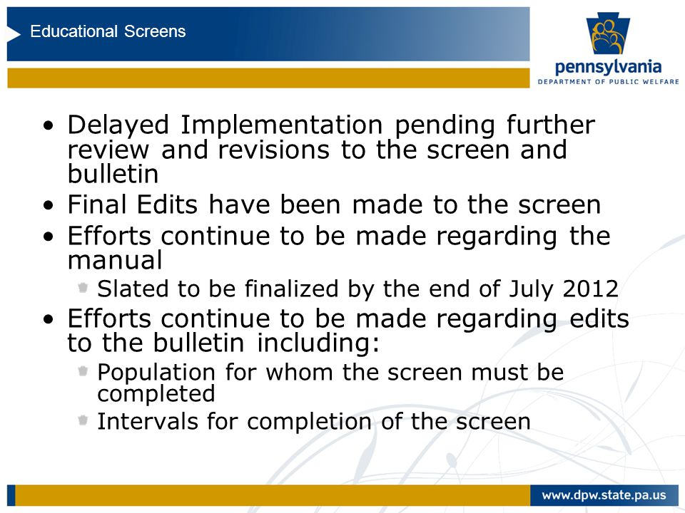 Education Bulletin and Screen