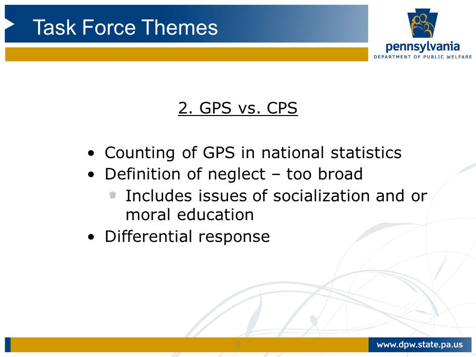 Task Force Themes 2. GPS vs. CPS