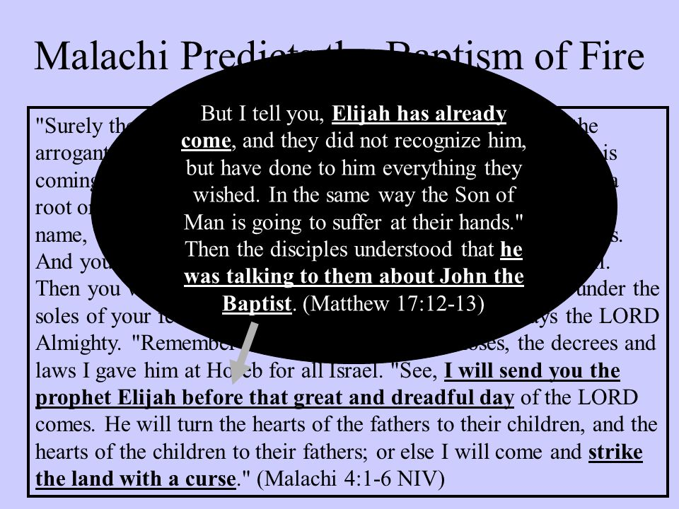 Malachi Predicts the Baptism of Fire
