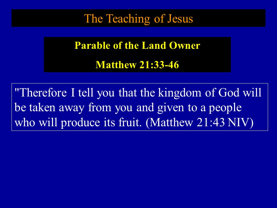 Parable of the Land Owner