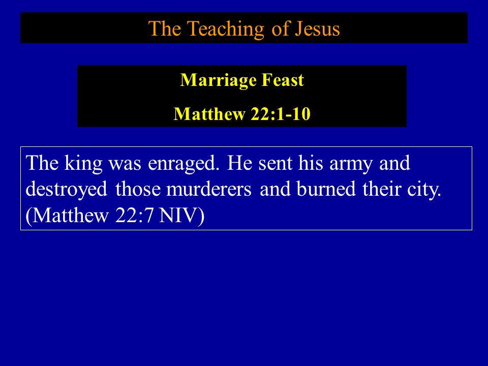 The Teaching of Jesus Marriage Feast. Matthew 22:1-10.