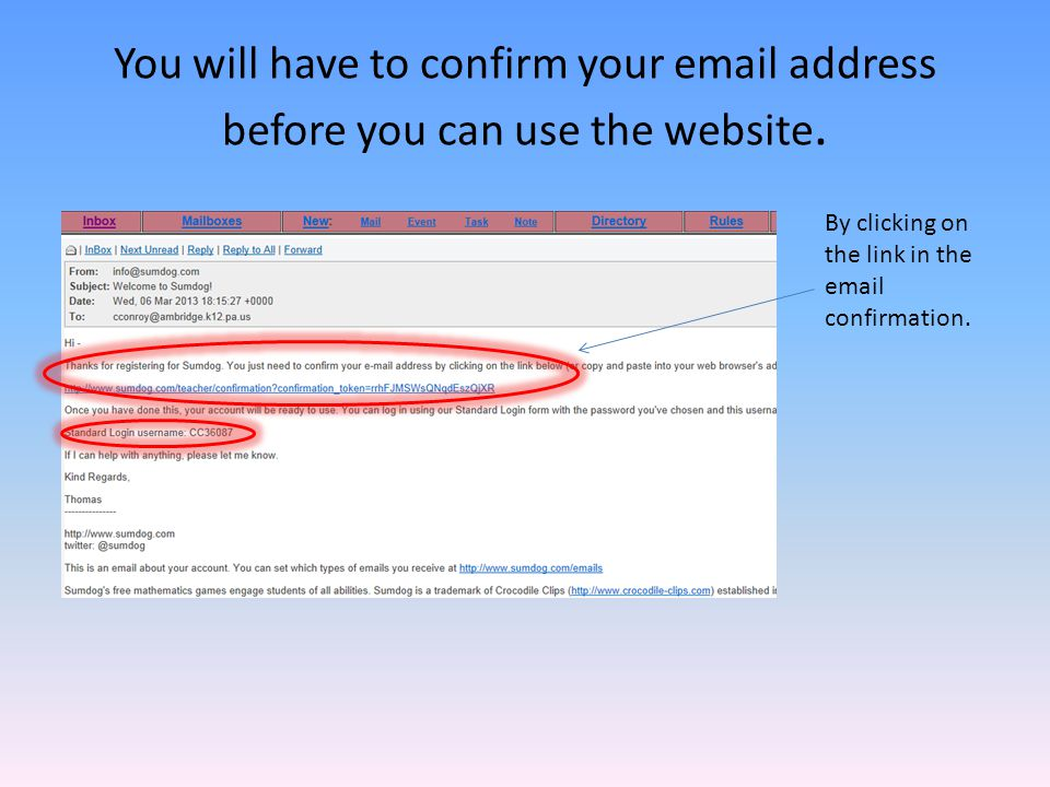 You will have to confirm your email address before you can use the website.
