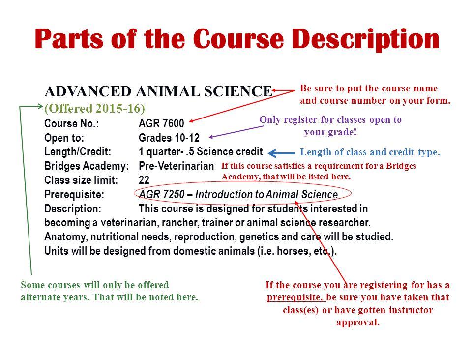 Parts of the Course Description