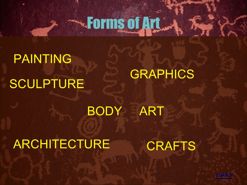 Forms of Art PAINTING GRAPHICS SCULPTURE BODY ART ARCHITECTURE CRAFTS