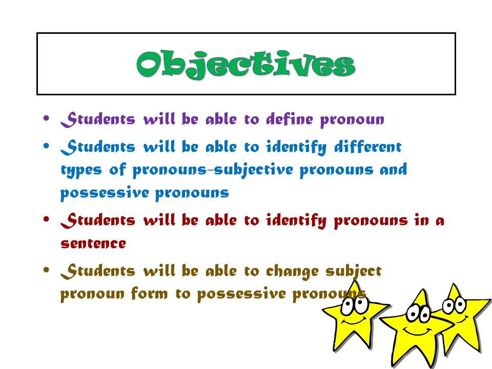 Objectives Students will be able to define pronoun