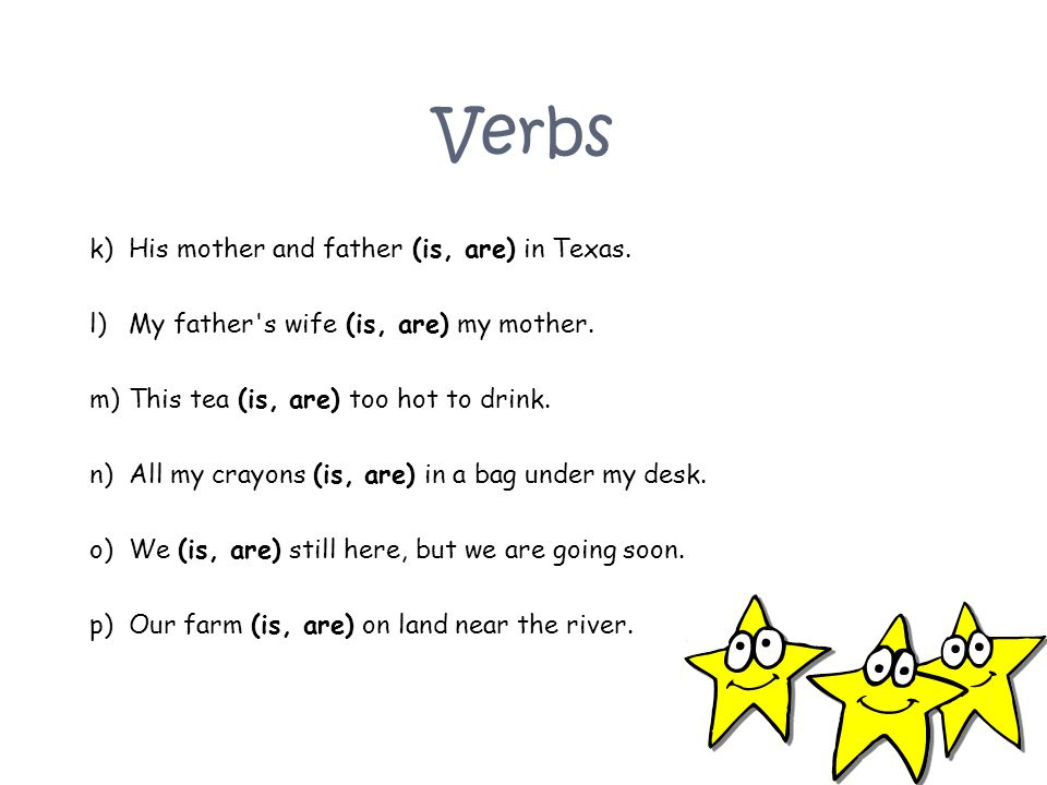 Verbs His mother and father (is, are) in Texas.