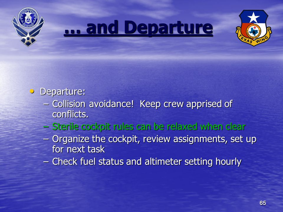… and Departure Departure: