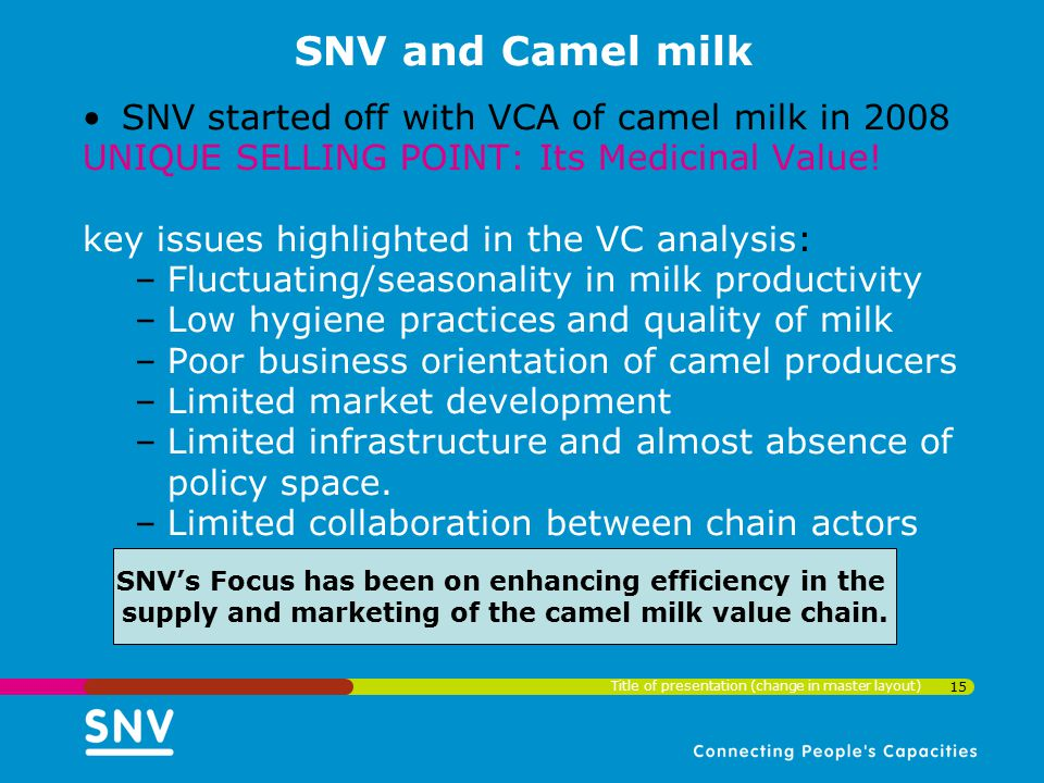 SNV and Camel milk SNV started off with VCA of camel milk in 2008