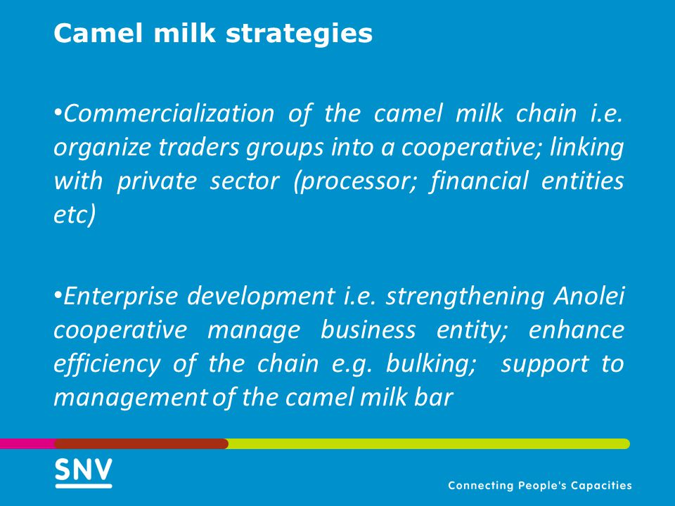 Camel milk strategies