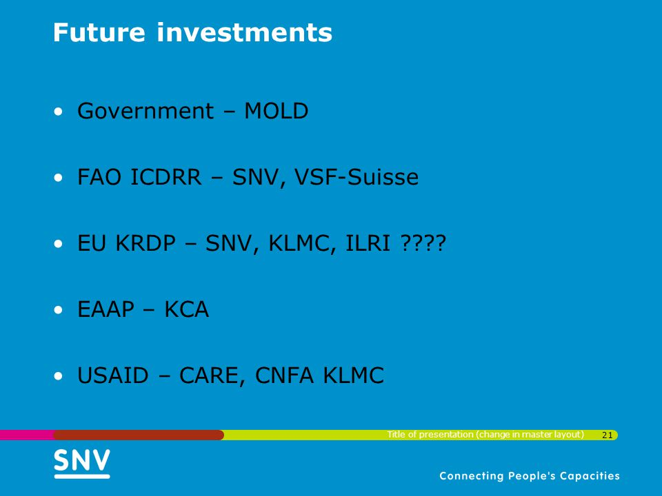 Future investments Government – MOLD FAO ICDRR – SNV, VSF-Suisse