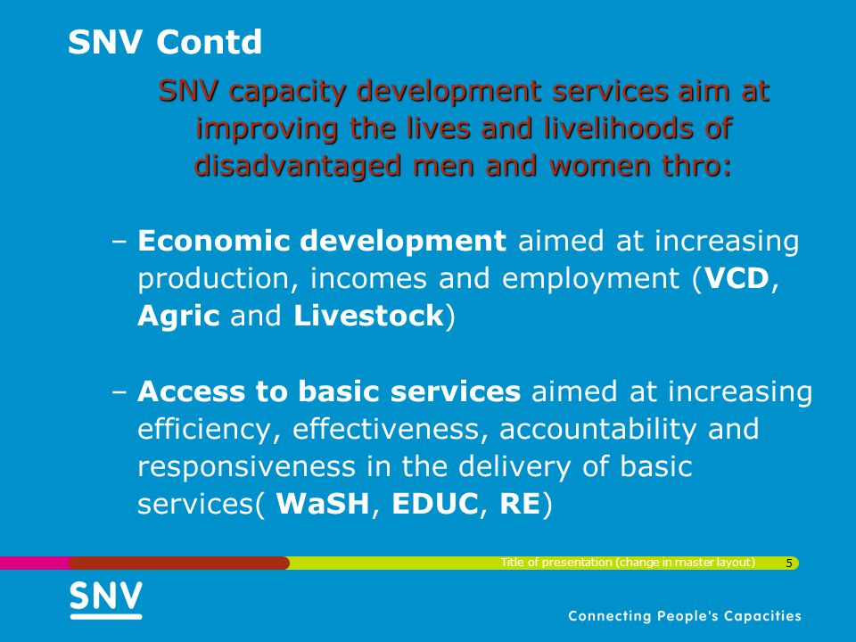 SNV Contd SNV capacity development services aim at improving the lives and livelihoods of disadvantaged men and women thro:
