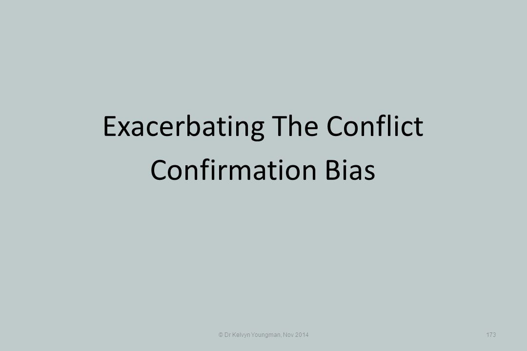 Exacerbating The Conflict Confirmation Bias
