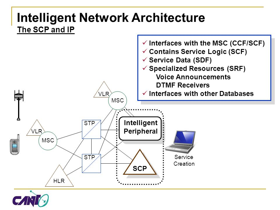 Intelligent Network Architecture The SCP and IP
