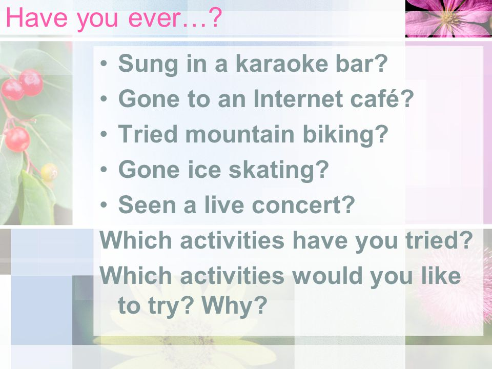 Have you ever… Sung in a karaoke bar Gone to an Internet café