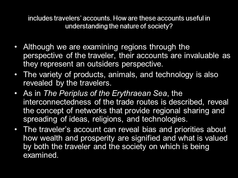 includes travelers' accounts