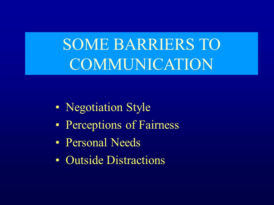SOME BARRIERS TO COMMUNICATION