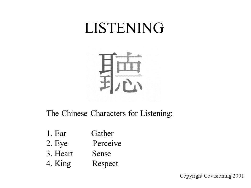 LISTENING The Chinese Characters for Listening: 1. Ear Gather