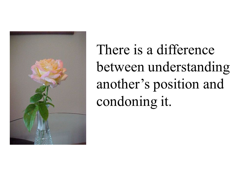 between understanding another's position and condoning it.