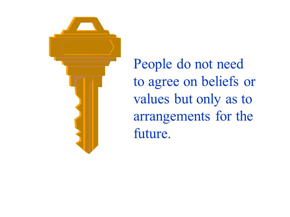 People do not need to agree on beliefs or values but only as to
