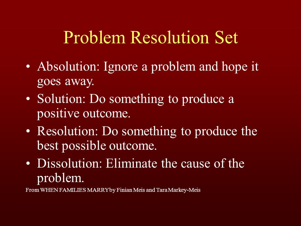 Problem Resolution Set