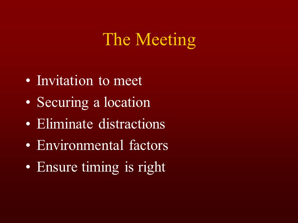 The Meeting Invitation to meet Securing a location
