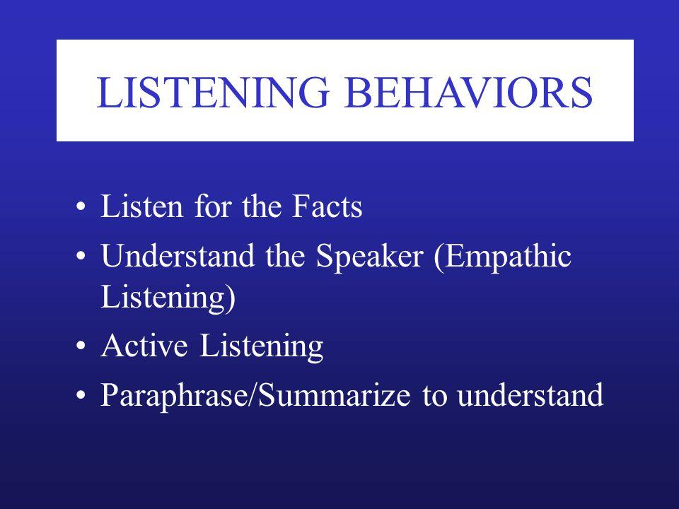 LISTENING BEHAVIORS Listen for the Facts