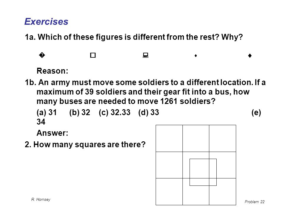 Exercises 1a. Which of these figures is different from the rest Why