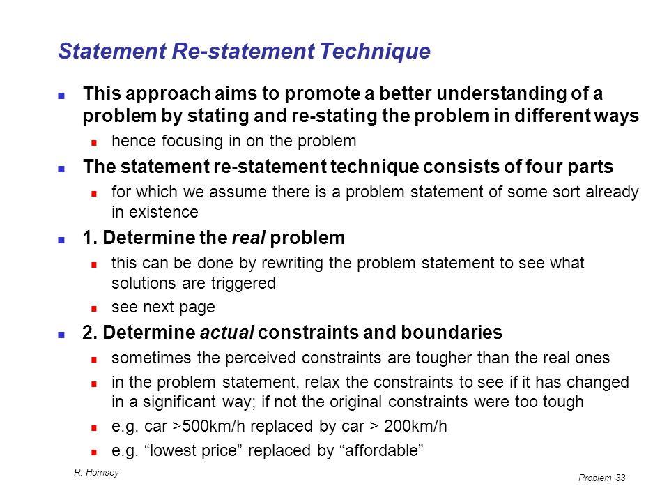 Statement Re-statement Technique