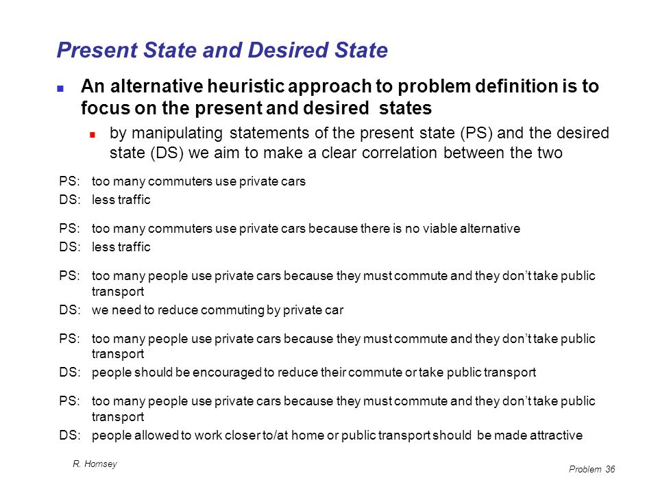 Present State and Desired State