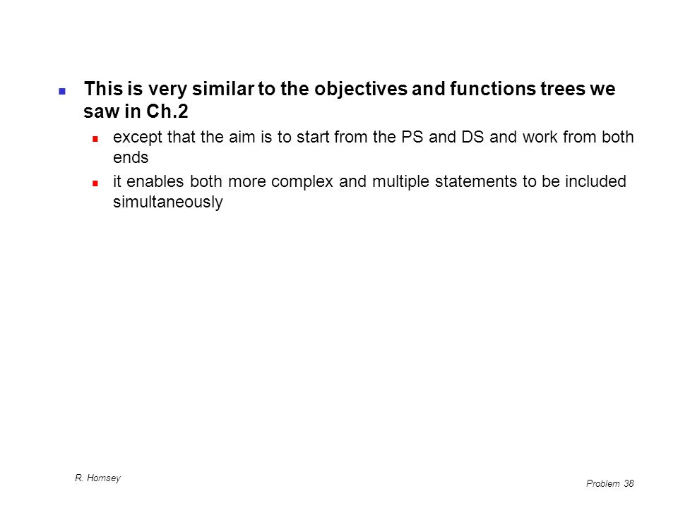 This is very similar to the objectives and functions trees we saw in Ch.2