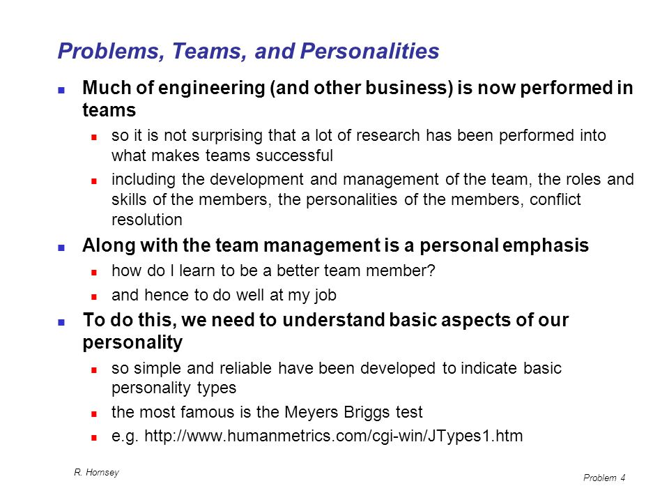 Problems, Teams, and Personalities